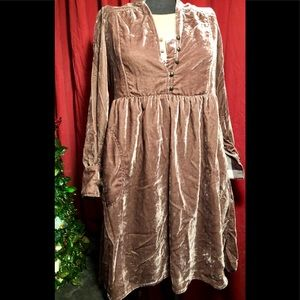 Anthropologie Holding Horses Velvet Shirt Dress